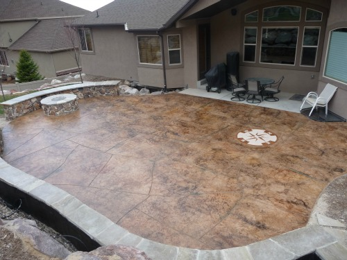 patios stamped concrete patios concrete ideas patios ideas fire